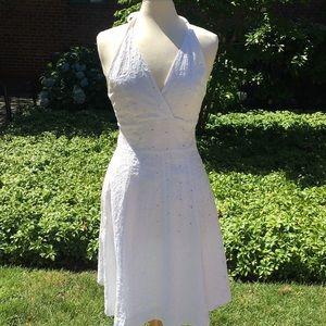 Isaac Mizrahi White Eyelet Halter Dress